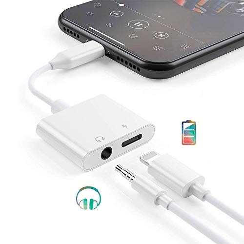 Adattatore per iPhone 12 Cuffie 3,5mm Jack Adattore Cuffie per iPhone Cavo Aux Audio Attacco Compatibile con iPhone 11Pro/8/8P/7/7P/X/XR/XS Dongle Adapter Splitter Connettore (Bianco)