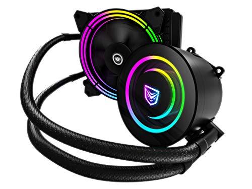 Nfortec Atria Refrigeración Líquida RGB 120 mm con Conector estándar 5v 3 Pin y ventilación con 7 aspas (Compatible con 10th generación de Intel) - Color Negro