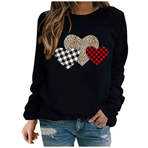 Hotkey Valentine's Day Women's Sweatshirt Plaid Heart-Shaped Printed Tops Crewneck Long Sleeve Pullover Jumper Blouse Shirts
