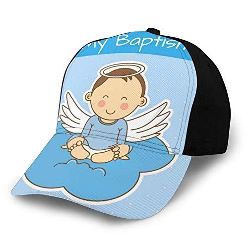 Gorra de béisbol para papá de tamaño ajustable para correr entrenamientos y actividades al aire libre bebé con alas en la nube Boy Family Love Life Joyful Design Art Print