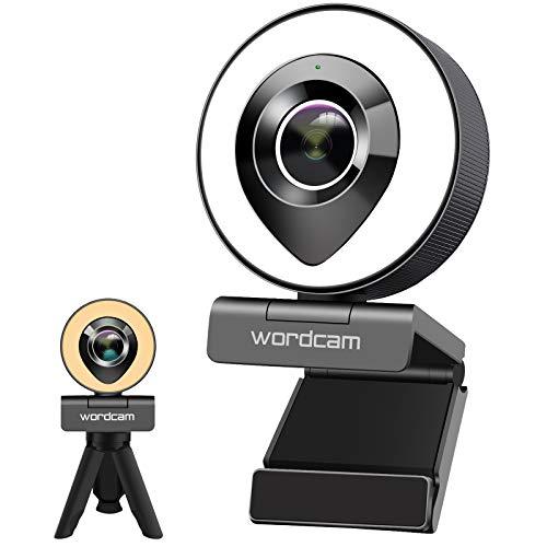 Wordcam Streaming Webcam HD 1080P con doppio Microfono e luce ad Anello, Luce bicolore, Luminosità regolabile controllo touch, Webcam per Zoom Skype Facetime, PC Mac Laptop Desktop