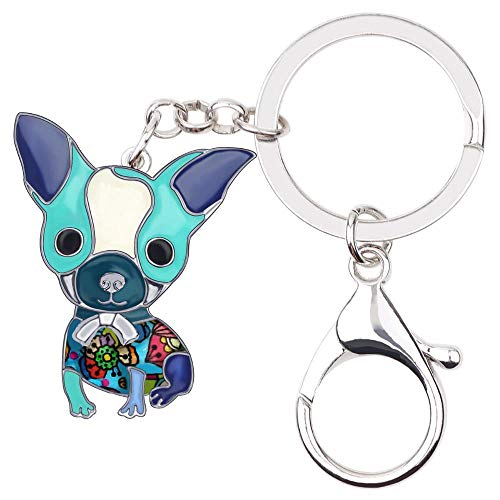LZHLMCL Bag Keyrings Keychains Enamel Alloy Sitting Dog Key Chains Cute Pet Jewelry Keychains For Women Girls Bag Car Gift Pendant Blue