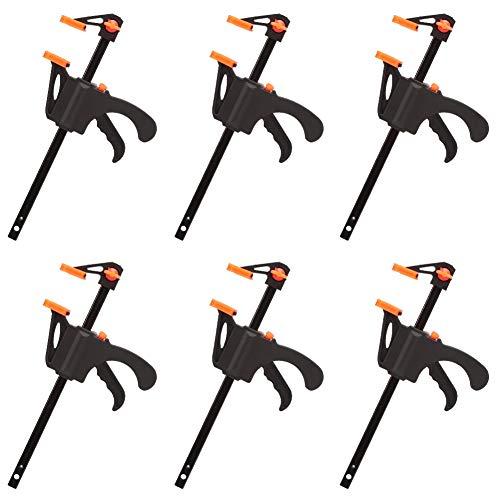 Phoetya 4-Zoll-Schnellklemmen, 6-teilige Ratschenstangenklemmen Holzklemmen Schnellgreifende Einhand-Stangenklemme Lösen Sie einfach die F-Klemmen für Schweiß-, Klebe- oder Holzarbeiten