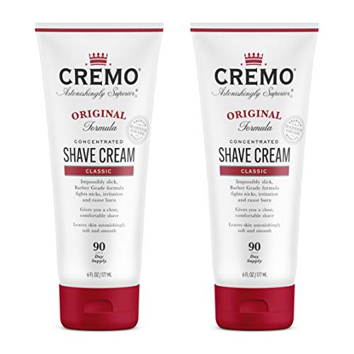 Cremo Barber Grade Original Shave Cream, Astonishingly Superior Ultra-Slick Shaving Cream Fights Nicks, Cuts and Razor Burn, 6 Oz (2-Pack)