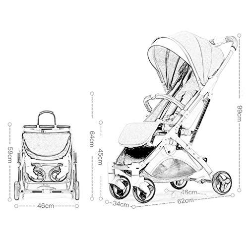 MU Sillas de paseo cómodas para que el carrito de bebé pueda sentarse, acostarse, amortiguador plegable portátil ultraligero. el carrito para niños se puede plegar con una mano y montar en el avión,a