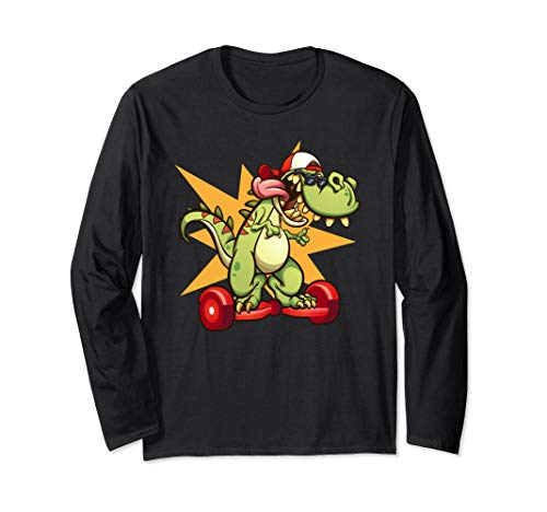 T-Rex Dinosaur Hoverboarding - Hoverboard Graphics Long Sleeve T-Shirt