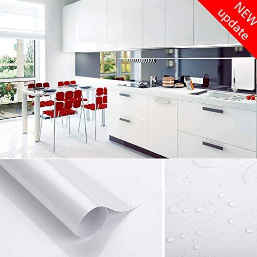 Johgee 3M * 41CM Papier Zelfklevende Wit PVC, Stickers Keuken, Waterdicht, Zelfklevende Glitter, Decoratieve Meubels, Versier Keuken, Kast