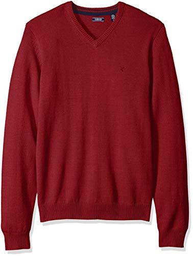 IZOD Men's Premium Essentials Solid V-Neck 12 Gauge Sweater, Red 030, Medium