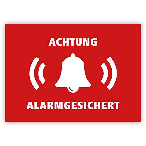 """5 Stück - Aufkleber """"Achtung alarmgesichert"""" (Hinweis auf Alarmanlage, z.B. KFZ, Tresore usw.), Rot/weiß, rechteckig, 74x52mm"""
