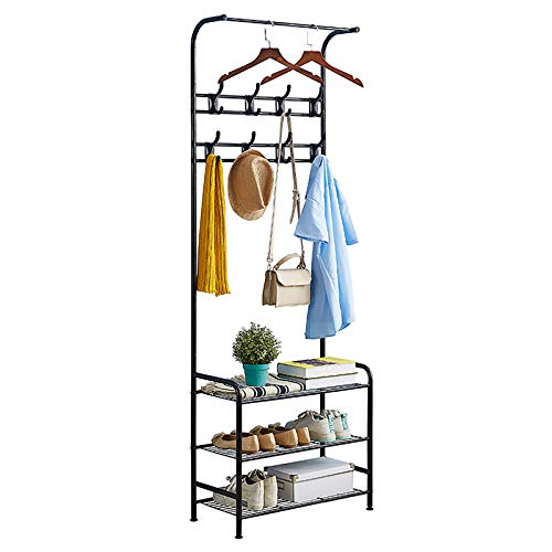 Coat Rack Shoe Bench with 16 Hooks, Metal Coat Hat Rack Free Standing Clothes Stand with 3-Tier Shoe Rack Bench, Hat Umbrella Stand Hallway Organiser, 3-in-1 Hall Tree with Metal Frame, Easy Assembly