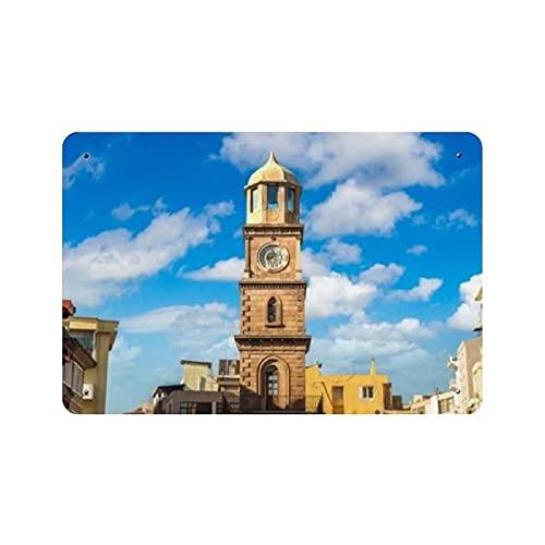 Torre del reloj histórico Canakkale hermosa naturaleza pintura decoración vintage para el hogar, letrero de arte de pared 11.8 'x7.9' decoración de pared de café familiar, pintura de arte retro carte