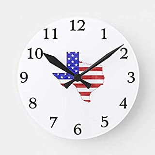 TattyaKoushi 15 by 15-inch Wooden Wall Clock, State of Texas Shaped American Flag Round Clock for Kitchen Bedroom Living Room Home Office Decor