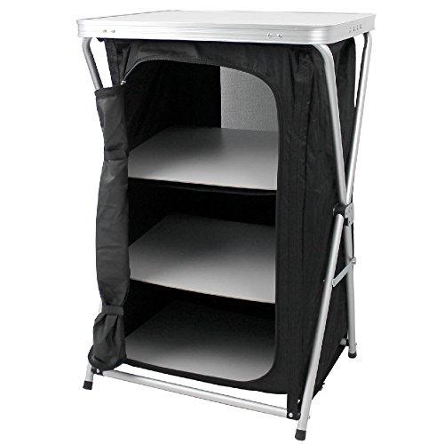Armario plegable para camping, 3 estantes, con estructura fija de aluminio, armario de viaje