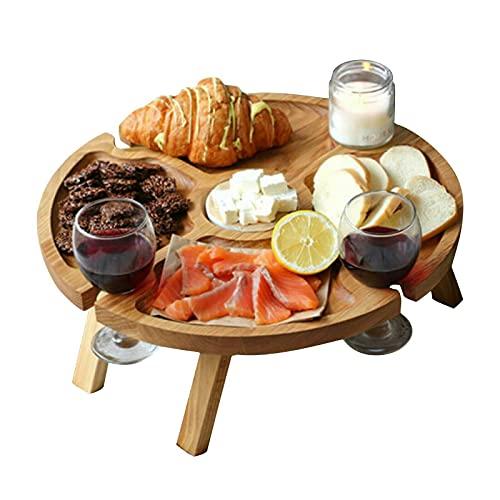 Tavolo Sicnico Pieghevole da Esterno in Legno, Scomparto per Formaggio e Frutta