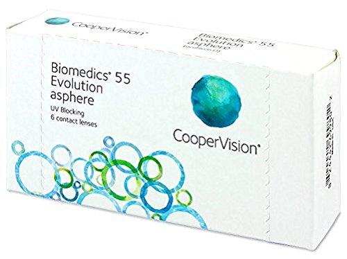 Biomedics 55 Evolution Monatslinsen weich, 6 Stück / BC 8.6 mm / DIA 14.2 / -3,25 Dioptrien