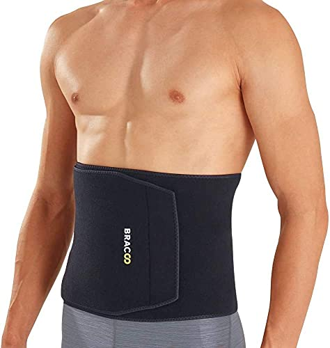 Bracoo Premium Waist Trimmer Wrap (Broad Coverage), Sweat Sauna Slim Belt for Men and Women - Abdominal Trainer, Increased Core Stability, Metabolic Rate, SE22 (L/XL) Black
