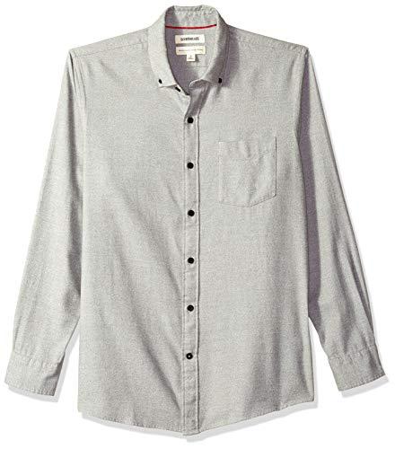Amazon-Marke - Goodthreads Herren Flanellhemd Langarm, normale Passform , light grey heather, US L (EU L)