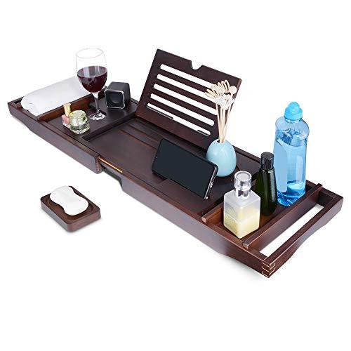 SkingHong Bambus Badewannenbrett Badewannenablage ausziehbar, Duschbrett mit Bücherregal, Handyhalter, Kerzenhalter, Seifenhalter, Zwei Herausnehmbaren Tabletts.