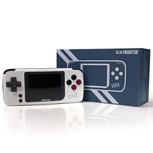 Video Game Console -PocketGO - Portable Handheld Retro Game Players Progress Save/Load MicroSD Card External Colorful Screen (White)