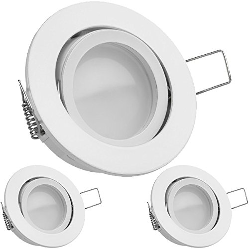 3er LED Einbaustrahler Set Weiß mit LED GU10 Markenstrahler von LEDANDO - 5W DIMMBAR - warmweiss - 110° Abstrahlwinkel - schwenkbar - 35W Ersatz - A+ - LED Spot 5 Watt - Einbauleuchte LED rund