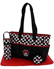 """Disney Mickey Mouse Multi Pc Diaper Bag Set with Mickey Mouse""""Toss Heads"""" Print (Includes Changing Pad, Pacifier Holder, Insulated Bottle Holder, Many Pockets)"""