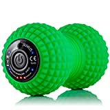 SUVIUS Vibrating Peanut Electric Rechargeable Foam Roller - 4 Intensity Levels for Firm Battery-Powered Deep Tissue Recovery, Training, Massage - Therapeutic Back and Muscle Massage Roller (Green)