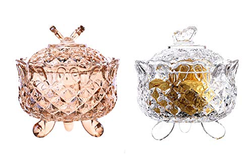 Maypink Crystal Candy Dish Glass Jar with Crystal Lid Candy Dish Cookie Tin Biscuit Barrel Butterfly Decorative Candy Jar Sugar Bowl (Candy Dishes set of 2, Clear-Amber)