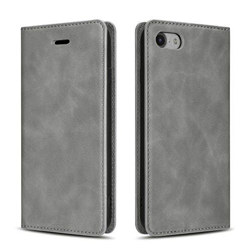QLTYPRI Case for iPhone 6 iPhone 6S, Premium PU Leather Cover TPU Bumper with Card Holder Kickstand Hidden Magnetic Adsorption Shockproof Flip Wallet Case for iPhone 6 iPhone 6S - Grey
