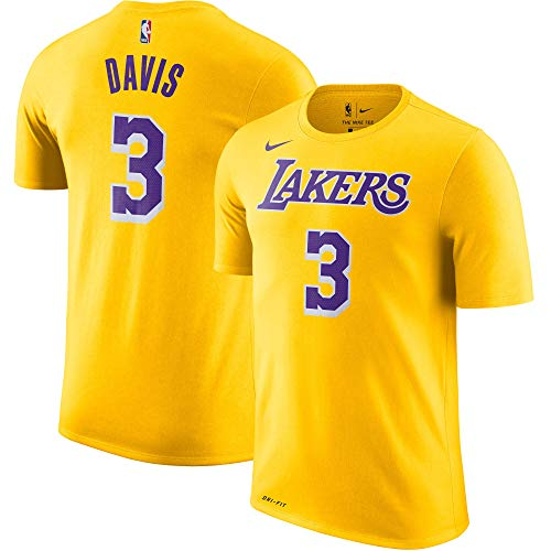 Nike Anthony Davis Los Angeles Lakers NBA Boys Youth 8-20 Yellow Name & Number Performance Dri-Fit T-Shirt (Youth Large 14-16)