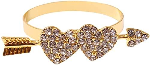 Servilleteros de Mesa Vintage Servilleteros con forma de corazón de oro Anillos de servilleta de San Valentín Hebillas de servilleta de amor con diamantes de 12 piezas para bodas Como Decoración de