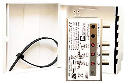 Elettronica Cusano - Amplificatore Antenna TV da Palo con Filtro Lte 4G, Guadagno Massimo 30Db (Regolabile), Grigio
