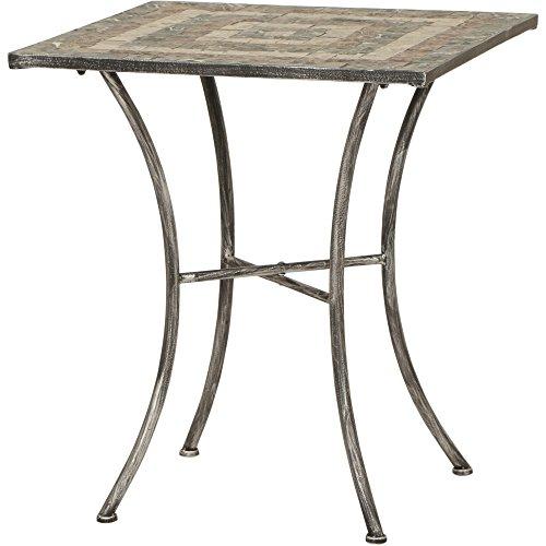 Siena Garden Tisch Felina, 64x64x71cm, Gestell: Stahl, pulverbeschichtet in silber-schwarz, Fläche: Mosaik,Tischplatte: Keramik