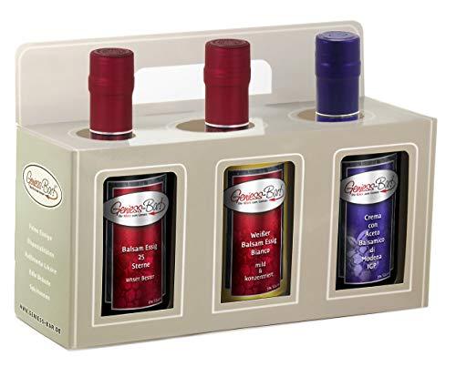 Geschenkbox Sorglos Paket 3x 0,5L 25 Sterne Essig / Weißer Balsamessig / Crema di Balsamico di Modena IGP