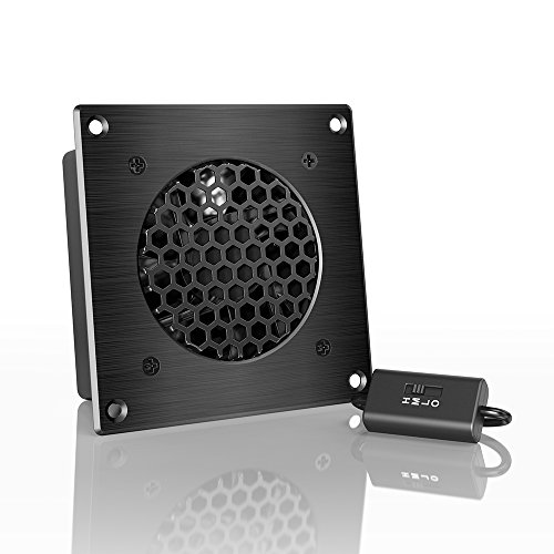 AC Infinity AIRPLATE S1, Quiet Cooling Fan System 4 with Speed Control, for Home Theater AV Cabinets