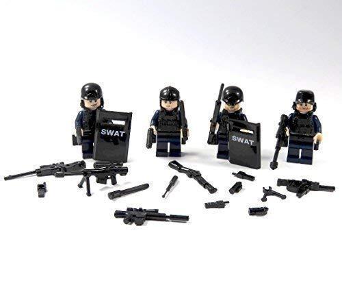 4 Custom SWAT Polizei Minifiguren aus Lego © und Custom Teilen mit Schild und viel Zubehör Light Flash Kopf