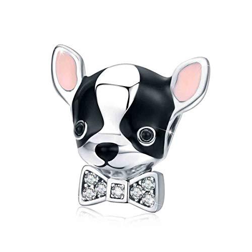 Ciondolo Chihuahua a forma di cane in argento Sterling 925 smaltato