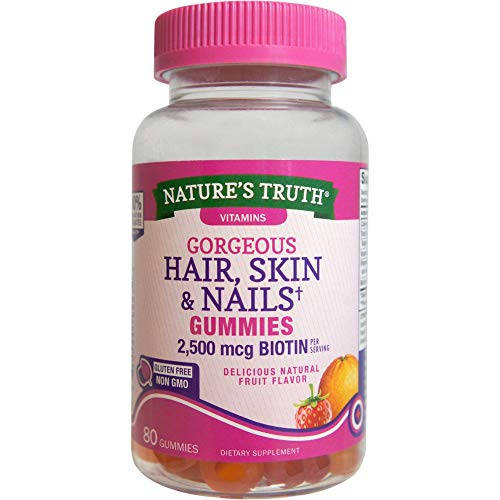 Nature's Truth Hair, Skin & Nails Gummies 2500 mcg Biotin Fruit Flavor - 80 ct, Pack of 2