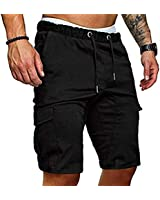 VOGUISH 1983 Mens Shorts Summer Elasticated Waist Gym Sports Joggers Pants with Pockets (Black, XL)