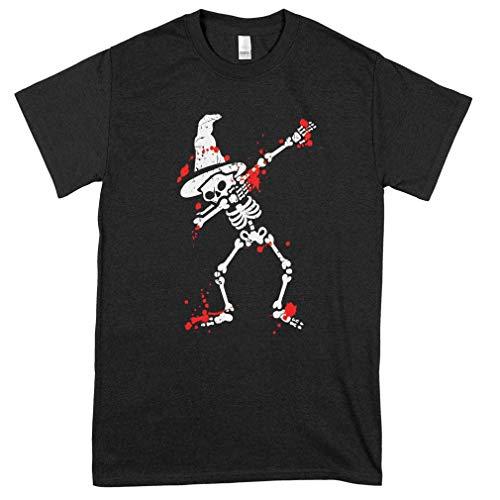 Halloween Skélétón Dabbing Moon Broom Witch Magic T Shirt For Man For Women Handmade T Shirt Best Shirts Birthday Gift T Shirt