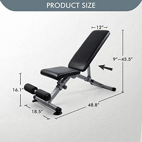 RitFit Adjustable / Foldable Utility Weight Bench for Home Gym, Weightlifting and Strength Training - Bonus Workout Poster with 35 Total Body Exercises (Upgraded Version)