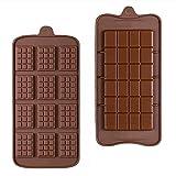 RuiChy 2 Piezas Break-Apart Moldes de Chocolate, Molde de Silicona por Chispas de Chocolate, Mini Molde para Gofres Antiadherente Delgada Barrita Proteica y Energética Hornear Molde de Caramelo