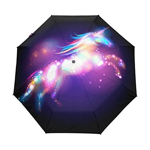 Bennigiry Regenschirm, mit Einhorn- und Sternenmotiv, automatische Öffnung, kompakt, winddicht, langlebig, leicht zu tragen