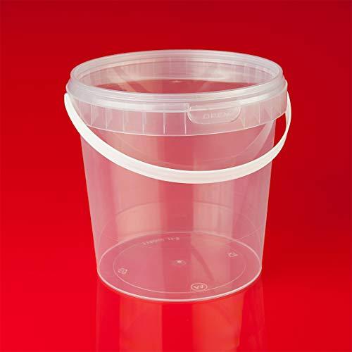 Trendfinding 12 x 1 L Eimer mit Deckel transparent Kunststoff Plastikeimer lebensmittelecht