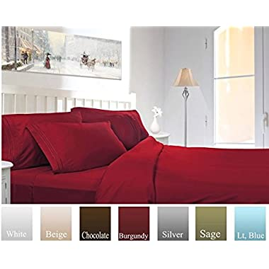 Ruthy's Textile Bed Sheet Set - Hotel Luxury Brushed Microfiber 1800 Bedding - Wrinkle,Fade,Stain Resistant - Hypoallergenic, Soft - Deep Pockets Bed Sheets & Pillow Case Set - 4 Piece Burgundy, Queen
