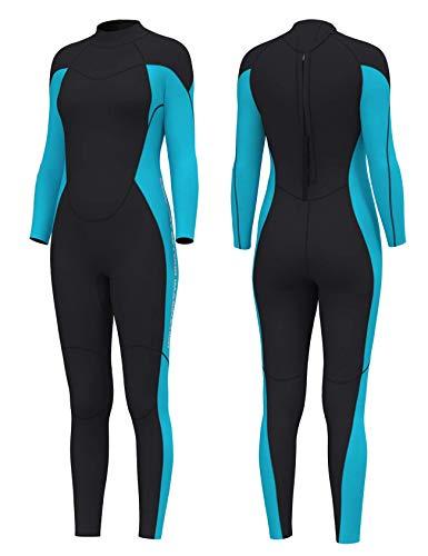 Letuwj Neoprenanzug für Herren und Damen, 3 mm, Ganzkörper-Neoprenanzug, hält warm, Tauchanzüge für Wassersport, für Männer, Jugendliche, Frauen Gr. S, blau / schwarz