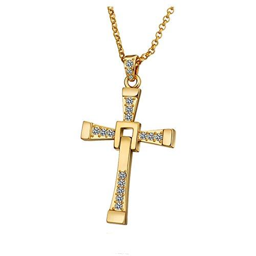 Styleziel dames heren halsketting lange gouden ketting kruis met kristallen als hanger 60cm 1665