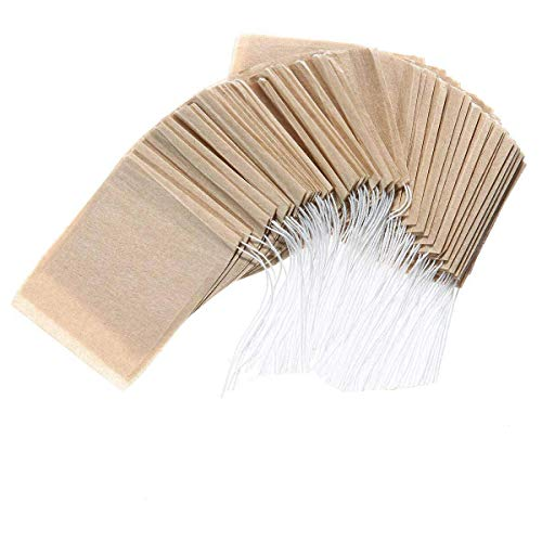 LUCKYBEE お茶バッグ 100枚 使い捨て空の袋 フィルター濾紙 ティーバッグ 巾着付き 強力な浸透 天然 ルースリーフティー&コーヒー用