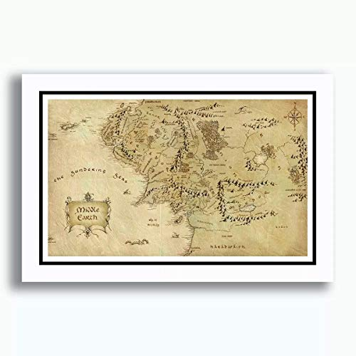 Quadro Terra Media Mapa 60x40cm Filme Cinema Tv Senhor dos Aneis O Hobbit Decoracao Casa Sala Quarto Moldura Paspatur