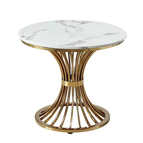 Vardagsrum bord möbler marmor soffbord guldpläterat rostfritt stål litet runt dekorativt bord modernt kreativt till salu avdelning bar hall, 80 x 80 x 70 cm