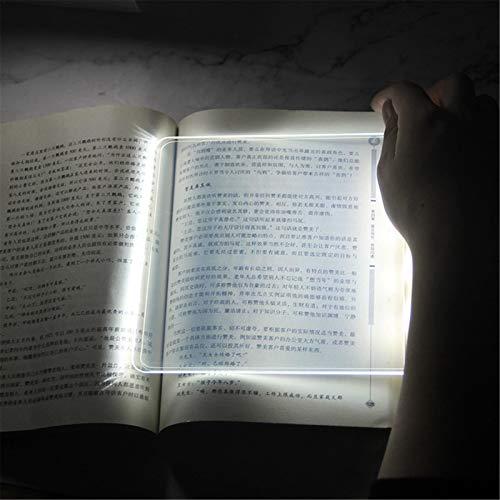 Luz De Libro para Leers En La Cama, Funciona con Pilas Luz De Lectura Nocturna LED Placa Plana Lámpara De Libro LED Brillo Protección Ocular Ajustable Luz De Marcador Luz De Estudio De Cabecera